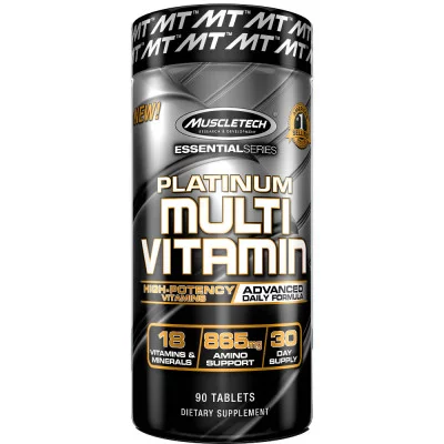 Un producto MuscleTech ¡Dosis de alta potencia de vitaminas, minerales y antioxidantes! * Fórmula de alta potencia diseñada para atletas 865 mg de soporte de aminoácidos Vitaminas C y E como antioxidantes Suministro completo de 30 días