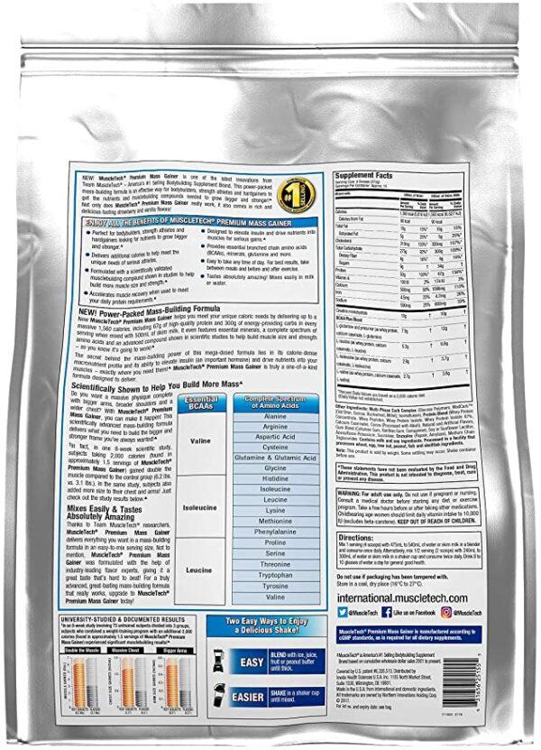 información de ganador de peso premium mass gainer 12 libras