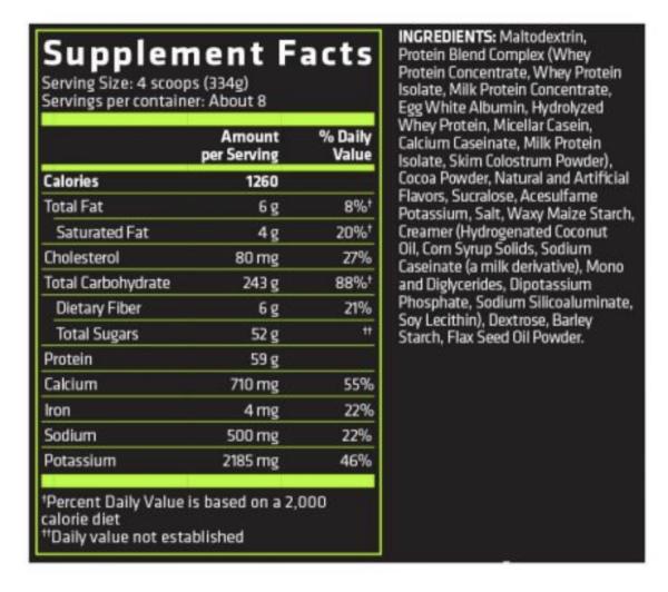 info nutricional anabolic mass