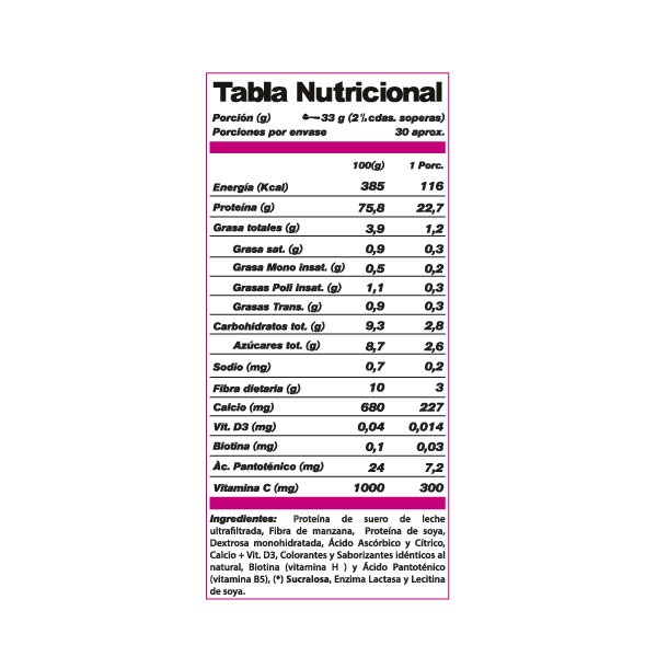 tabla nutricional de proteína Femme Shake