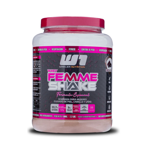 tarro de proteína femme shaker de la marca winkler