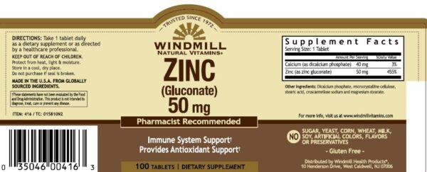zinc 50mg windmill etiqueta info